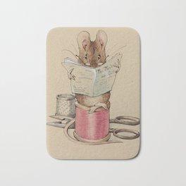Cute little mouse reading a newspaper Bath Mat