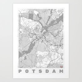 Potsdam Map Line Art Print