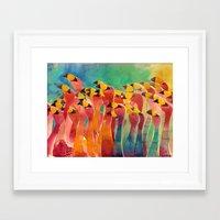 flamingos Framed Art Prints featuring Flamingos by takmaj