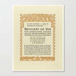 Titel en inteekenbiljet voor Reinaert de Vos, Bernard Willem Wierink, 1866 - 1939 Canvas Print