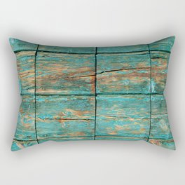Rustic Teal Boards (Color) Rectangular Pillow
