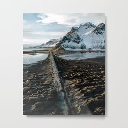 Icelandic black sand beach and mountain road - landscape photography Metal Print