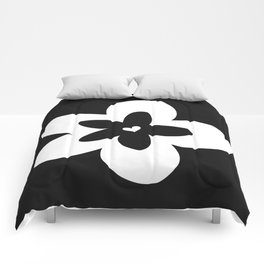 Black and White Plumeria Comforters