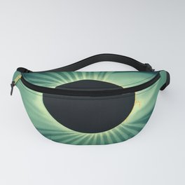 Teal Color Sun Eclipse Abstract Minimalism Fanny Pack
