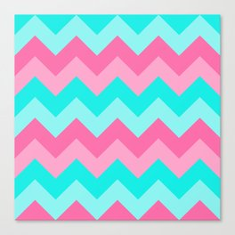 Hot Pink Turquoise Aqua Blue Chevron Zigzag Pattern Print Canvas Print