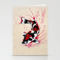 koi fish Stationery Cards featuring Koi by Puddingshades