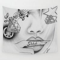 rihanna Wall Tapestries featuring Rihanna - Shine bright like a diamond 'Shhh..' lips - Ashley Rose by Rose Art