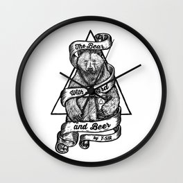 The Bear with Beard and Beer Wall Clock