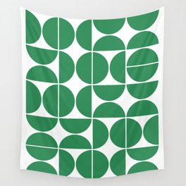 Mid Century Modern Geometric 04 Green Wall Tapestry