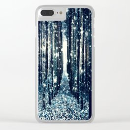 Magical Forest Teal Gray Elegance Clear iPhone Case