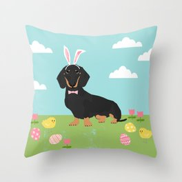 Dachshund dog breed easter pet portrait dog breed gifts pure breed dachsie doxie black and tan Throw Pillow
