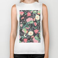 preppy Biker Tanks featuring Pastel preppy hand drawn garden flowers chalkboard by Girly Trend