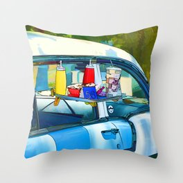 Food And Drink On Car Throw Pillow