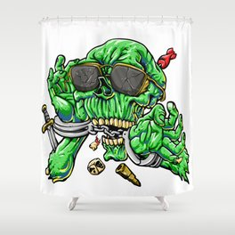 handcuffed zombie cartoon Shower Curtain