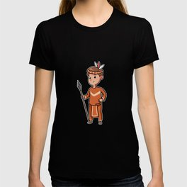 Children Young Indian feather spear Cartoon gift T-shirt