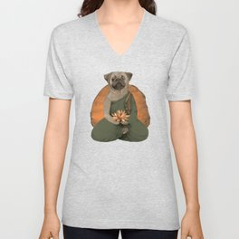meditating pug - green Unisex V-Neck