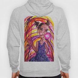 Bubble Trouble Girl Watercolor Painting Hoody