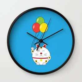 Fat Cat with Balloons Wall Clock
