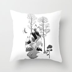 The Cabin in the Mountains Throw Pillow