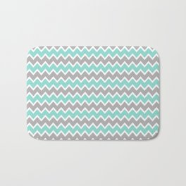 Aqua Turquoise Blue and Grey Gray Chevron Bath Mat
