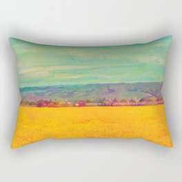 Teal Sky, Indigo Mountains, Mustard Plants, Colorful Houses Rectangular Pillow