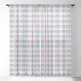 You are watched (Pink and blue colors) Sheer Curtain