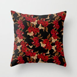 Red black floral pattern Throw Pillow