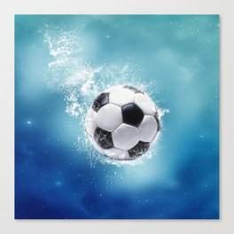 Soccer Water Splash Canvas Print