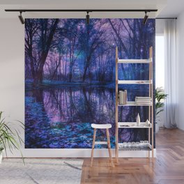 Enchanted Forest Lake Purple Blue Wall Mural