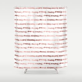 Amour French Love Script Rose Gold Typography Pattern 3 Shower Curtain