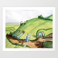 hobbit Art Prints featuring The Hobbit by Emily