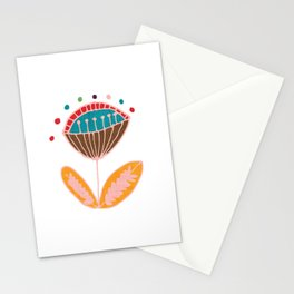 Mid Century Beige Floral Pattern Stationery Cards