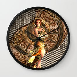 Steampunk, beautiful steam women Wall Clock