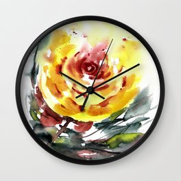 Yellow Rose for Evie Wall Clock