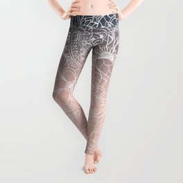 navy blue pastel peach ombre gradient white floral pattern Leggings