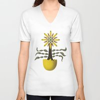 arya V-neck T-shirts featuring Flower Fingers by Hinal Arya