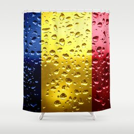 Flag of Romania - Raindrops Shower Curtain