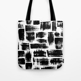 Black brush stripes plaid Tote Bag