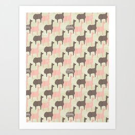 Brown and Pink Kids Llama Silhouette Seamless Art Print