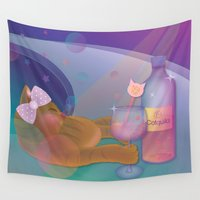 drunk Wall Tapestries featuring Drunk Cat by Graphic Tabby