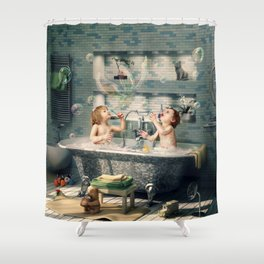 "H. Ch. Andersen tale motive  ""The Ugly Duckling"" Shower Curtain"