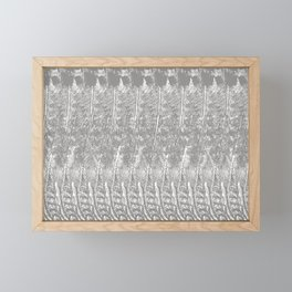Feather Pattern | Grey and White Framed Mini Art Print