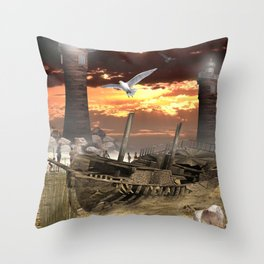 Dry Docked Throw Pillow