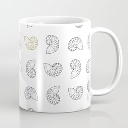 Nautilus Shell Print with Gold Accents Coffee Mug