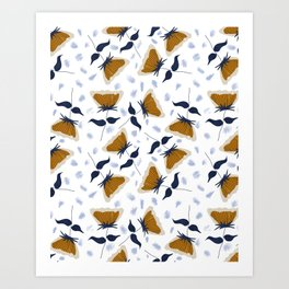 Gold and White Flowers with Blue Art Print