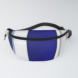 blue white grey beige striped geometric pattern Fanny Pack