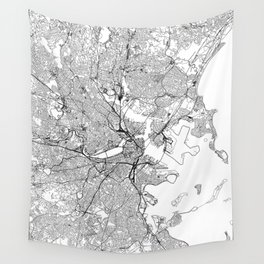 Boston White Map Wall Tapestry