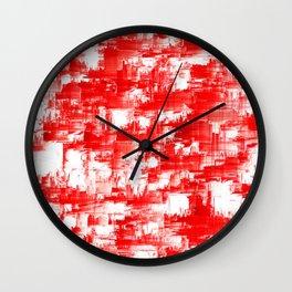 Pixel Red Glitch Design Wall Clock