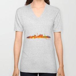 Barcelona City Skyline Hq _v2 Unisex V-Neck