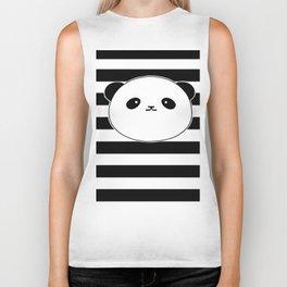 Cute, stripy Panda Face Biker Tank